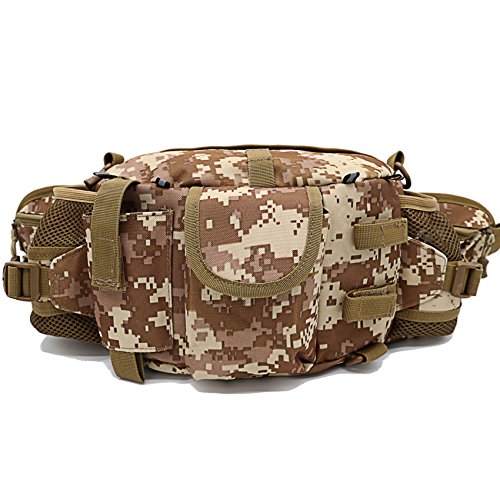 Outdoor Tactical Fanny Pack with Water Bottle Holder Waterproof Military Army Waist Belt Bag Shoulder Sling Duffle Bag Camo EDC Molle Pouches for Men Women Hiking Cycling Hunting Fishing (Style 01) (Snap Expansion Card)