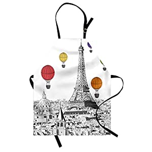 Ambesonne Paris Apron, Greyscale Eiffel Tower and Notre Dame Building with Rainbow Colored Hot Air Balloons, Unisex Kitchen Bib Apron with Adjustable Neck for Cooking Baking Gardening, Multicolor