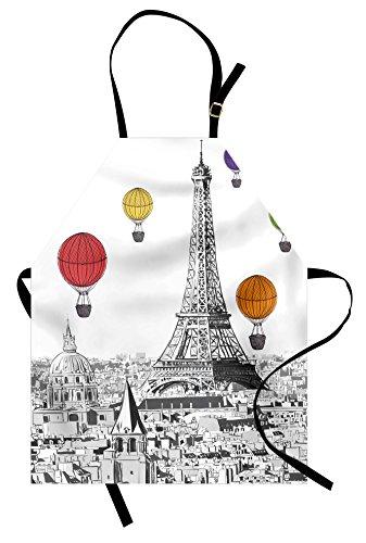 Dame Costumes Ideas - Ambesonne Paris Apron, Greyscale Eiffel Tower