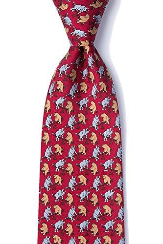 - Men's 100% Silk Stock Market Bull and Bear Playground Novelty Tie Necktie (Red)