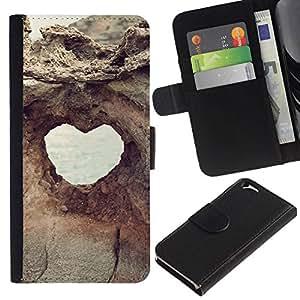 All Phone Most Case / Oferta Especial Cáscara Funda de cuero Monedero Cubierta de proteccion Caso / Wallet Case for Apple Iphone 6 // Heart Structure Cliff Hole View