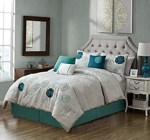 Kaputar Rosie 7pc Embroidered Blue Teal Rose Floral Comforter Set | Model CMFRTRSTS - 7086 | California King