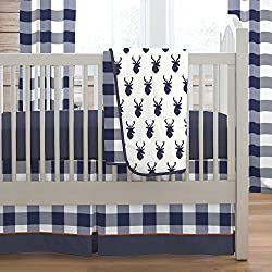 Carousel Designs Navy Deer Woodland Boy's 3-Piece Crib Bedding Set