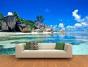 Yosot Papel pintado Suelo 3D Personalizado Mural 3D Isla Paisaje Roca Playa Pintura De La Playa 3D Mural De La Pared Fondo De Pantalla-200cmx140cm: ...