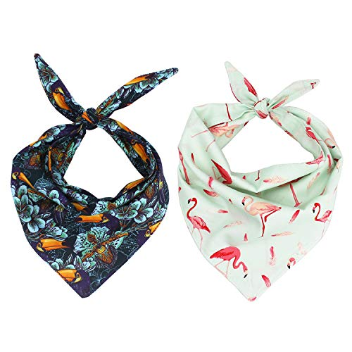 Free Sunday 2 Piece Pet Dog Bandana Triangle Bibs Scarf Accessories and 1PC Detachable Bowtie for Dogs, Cats, Pets Animals
