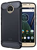 TUDIA Moto G5S Plus Case, Carbon Fiber Design Lightweight [TAMM] TPU Bumper Shock Absorption Cover for Motorola Moto G5S Plus (Navy Blue)