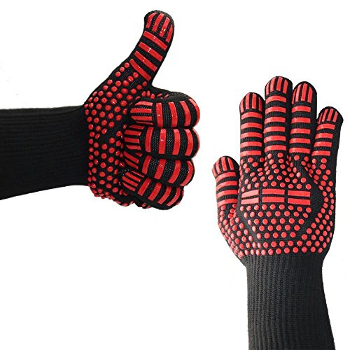 WEISIPU 1 Pair High-performance Extreme Heat Resistant BBQ Gloves,Frying & Baking,Microwave Oven Gloves, Forearm Protection Grill Insulation Silicone Oven Gloves(Red Point) - Microwave Oven Service Manual