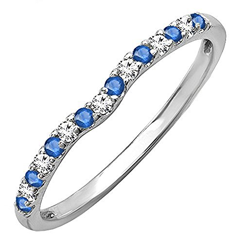 - Dazzlingrock Collection 14K Round Blue Sapphire & White Diamond Anniversary Wedding Ring Matching Band, White Gold, Size 7