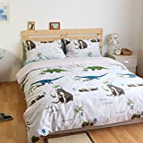 LELVA Kids Bedding for Boys Teens Bedding Dinosaur Bedding Duvet Cover Set Fitted / Flat Sheet Set 3-Piece (Twin, Fitted Sheet)