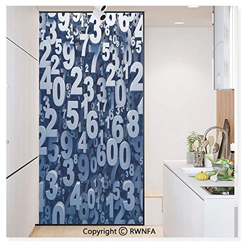 Decorative Privacy Window Film Abstract 3D Style Random Number Digits Symbols Algebra Signs No-Glue Self Static Cling for Home Bedroom Bathroom Kitchen Office,Blue White