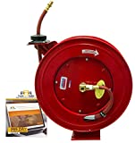 Lincoln Heavy Duty 50' Air Water Hose Reel with 1/2'' Hose for Repair Shops includes TruckFaultCodes License