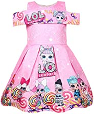 BackStri Fashion Girls Dress Red Pink Color LOL Surprise Doll Clothes Bow Party Age 3-8 Years