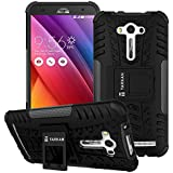TARKAN Hard Armor Hybrid Rubber Bumper Flip Stand Rugged Back Case Cover For Asus Zenfone 2 LASER 5.5 inch ZE550KL (BLACK)