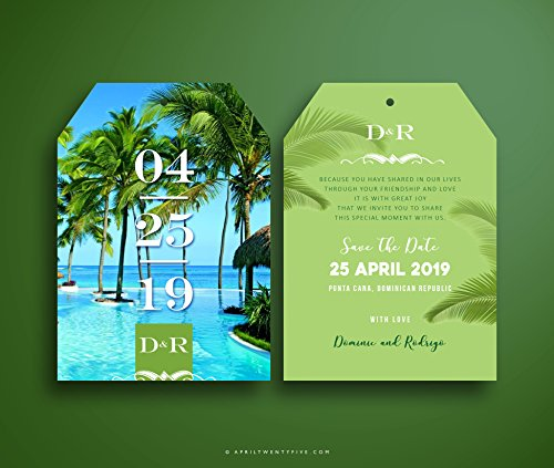 DOMINIC Beach Wedding Luggage Tag Shaped Save the Date Invitation (Pack of 10 cards)
