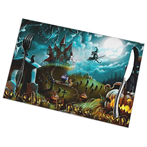 GGlooking Heat-Resistant Placemats Pumpkin Halloween Dining Table Mats Washable Coasters Kitchen Pad Cup Plant Set of 6,12x18in -