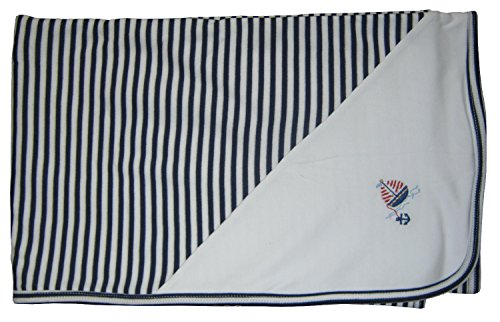 Kissy Kissy Baby-Boys Infant skysail Stripe Receiving Blanket-White and Navy-One Size