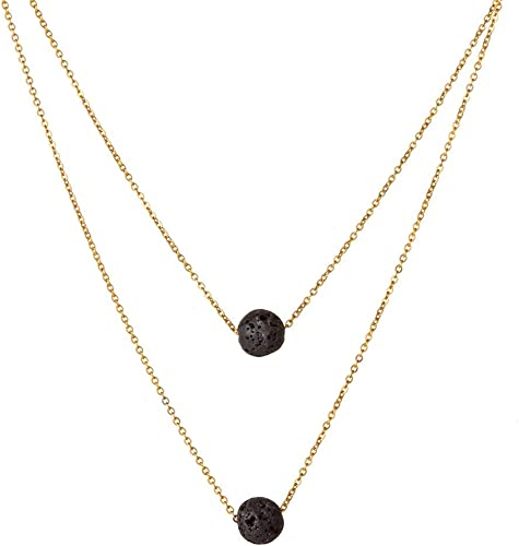 Essential Oil Diffusing Necklace with Black Onyx Pendant and Black Lava Beads Available in Gold or Silver