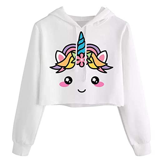 20c7daad94ff Image Unavailable. Image not available for. Color: Kids Crop Tops Girls  Sweatshirts Cute Long Sleeve Hoodies ...