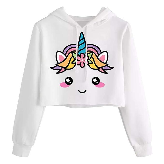 71099989d290f Amazon.com  Kids Crop Tops Girls Sweatshirts Cute Long Sleeve Hoodies Tops  Fall Clothes  Clothing