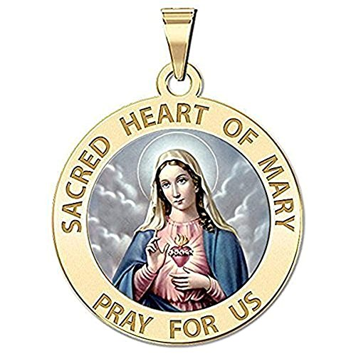 PicturesOnGold.com Sacred Heart or Immaculate Heart of Mary Religious Medal Color 1 in. Solid 14K Yellow Gold with Engraving