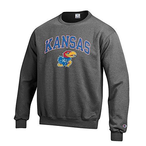 Elite Fan Shop NCAA Kansas Jayhawks Men's Crewneck Charcoal Gray Sweatshirt, Dark Heather, ()