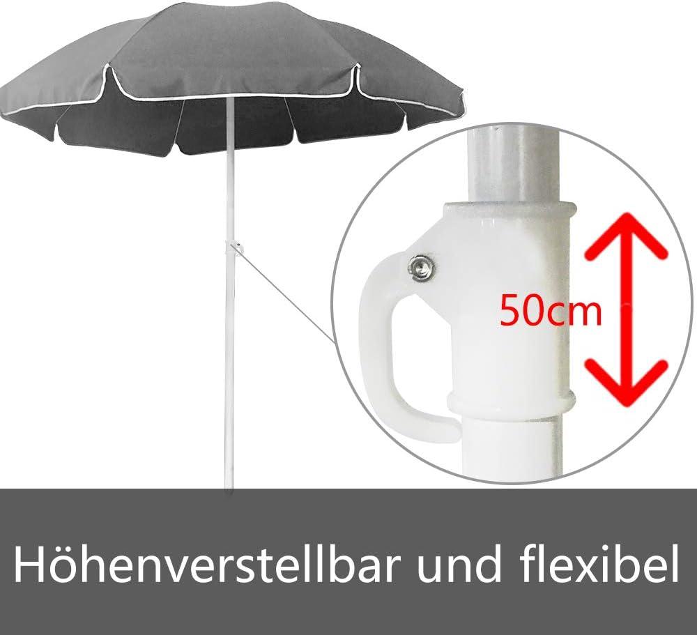 LZQ 200 cm Ombrellone Tondo Ombrello Parasole da Esterno da Giardino da Spiaggia Protezione Solare UV50 Beige