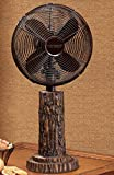 24'' Rustic Style Fir Bark Oscillating Table Top Fan