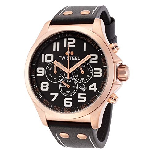 TW Steel Mens Pilot Watch - Rose Gold Quartz Chronograph Watch with Black dial and Black Strap TW418