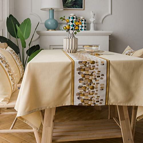 LINENLUX Stylish Square Rectangular Tablecloth/Table Cover for Kitchen Dinning Tabletop Decoration Khaki Stone Rectangle/Oblong 55 X 99 in