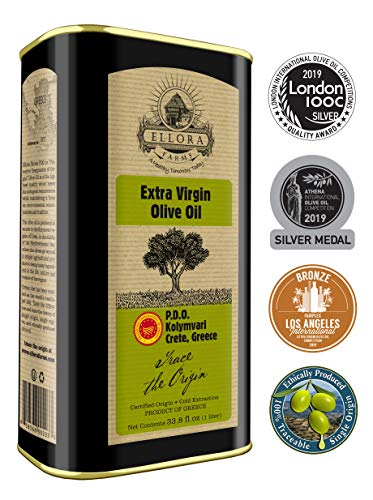 Ellora Farms | Certified PDO Extra Virgin Olive Oil | Single Variety Koroneiki Olives | Cold Press & Traceable Olive Oil | Born in Ancient Crete, Greece | Kosher | 1 Lt Tin, total 33.8 oz. ()