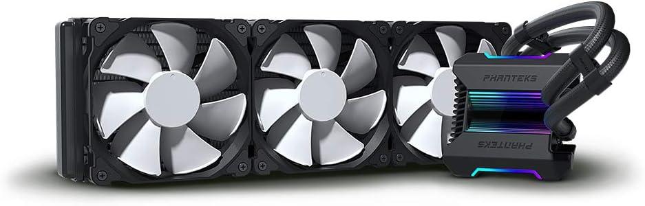Phanteks (P-GO360MP_DBK01) Glacier One 360MP D-RGB AIO Liquid CPU Cooler, Infinity Mirror Pump Cap Design, 3X Silent 120mm MP PWM Fans, Black