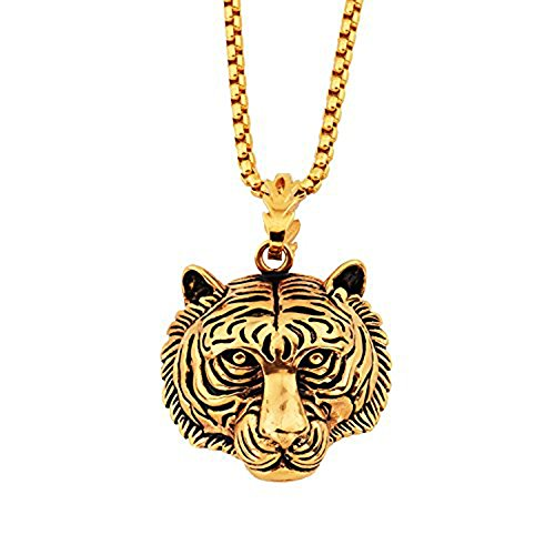 - MCSAYS 18k Gold Sterling Silver Tiger Head Hip Hop Pendant Necklace Stainless steel