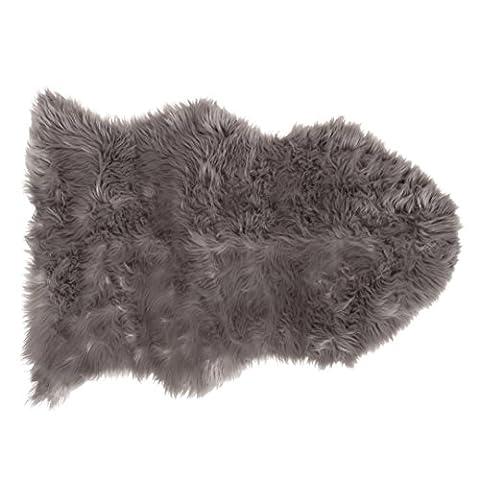 SLPR High Pile Faux Sheepskin Rug (2' x 3', Grey) | One-Pelt Decorative Rug for Bedroom Living Room Guest Room Plain Area Soft Furry (Fox Fur Rug)