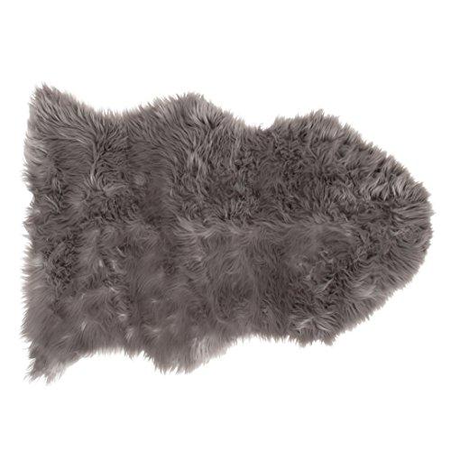 SLPR High Pile Faux Sheepskin Rug (2' x 3', Grey) | One-Pelt Decorative Rug for Bedroom Living Room Guest Room Plain Area Soft Furry Rug by SLPR