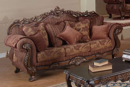 Meridian 681-S Tan Fabric Upholstery Sofa with Carved