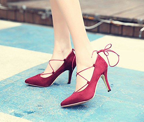 Up Thin Wrap Faux Pumps CHFSO Pointy Wine Shoes Suede Ankle Strap Womens Toe Red tIRIgw