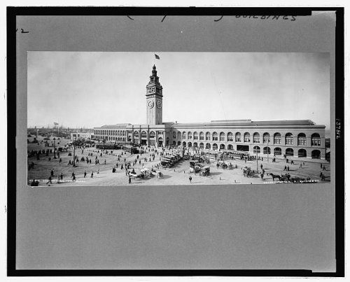 Photo: Evening, trolleys, Ferry Building, San Francisco, CA, c1912 . Size: 8x10 (approximately)