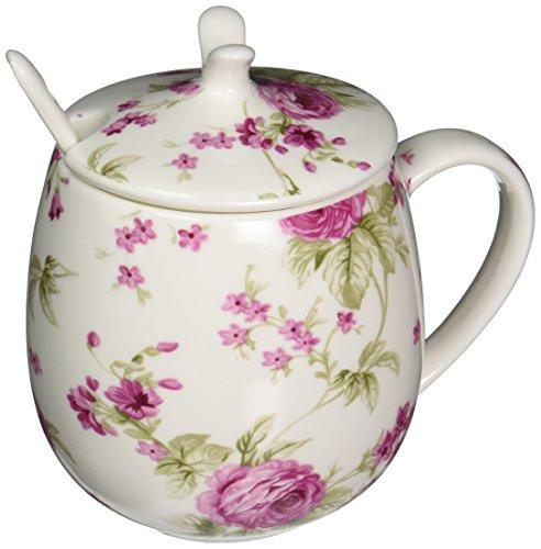 International Fine China (ICON Fine Bone China Floral Mug with Lid, Chinese Herbaceous Peony, 15 oz)