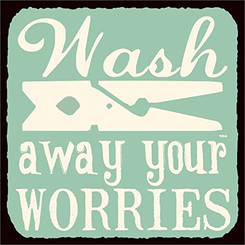 Wash Away Your Worries Vintage Metal Art Retro Laundry Room Metal Tin Sign 12X12 Inches Square Metal Signs Vintage ()