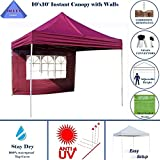 10'x10′ Pop up 4 Wall Canopy Party Tent Gazebo EZ Maroon – E Model By DELTA Canopies