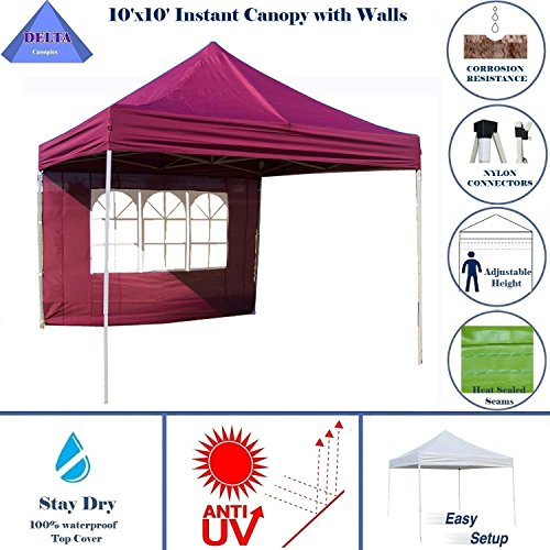 10'x10' Pop up 4 Wall Canopy Party Tent Gazebo EZ Maroon - E Model By DELTA Canopies