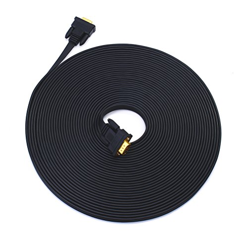 100' Computer - DTECH Slim Flexible VGA Cable 100 Feet Male to Male 1080p High Resolution Computer Monitor Cord