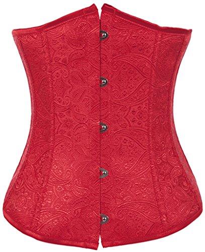 (Alivila.Y Fashion Womens Vintage Lace Boned Renaissance Corset 2002-Red-2XL)