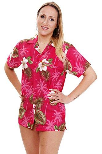 Funky Hawaiian Blouse, Smallflower, pink, S (Pink Shirt Hawaiian)