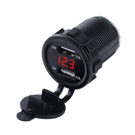 Ruiboury Universal con Doble Puerto USB Cargador de Coche Digital de Voltaje de Cigarrillos de Coche Mechero reemplazo de 12V / 24V del Coche de la ...