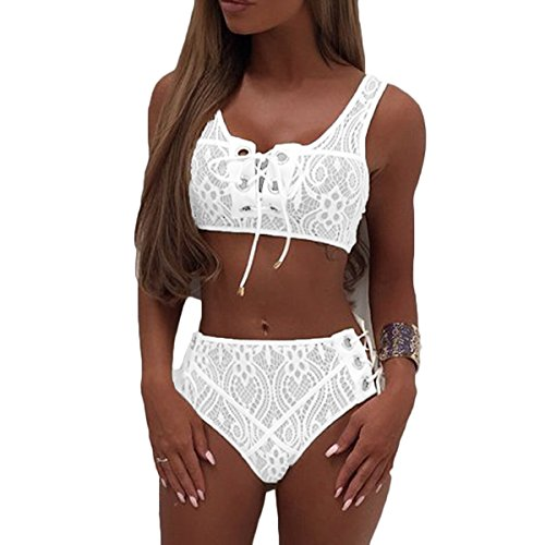 (Almaree Womans Lace Up Front High Waist Two Piece Bikini Set Lace Swimsuit White XL)