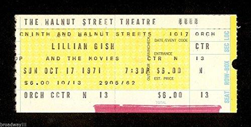 "Live on Stage ""LILLIAN GISH & THE MOVIES"" 1971 Philadelphia Ticket Stub"