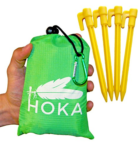 "HOKA Outdoor Picnic Blanket 75""x 55"": Waterproof, Sandproof Camping Pocket Blanket - Great for the for the Beach, Hiking, Festivals, Camping, Backpacking, Travel (Stakes & Carabiner Included) (Target Outdoor Blanket)"