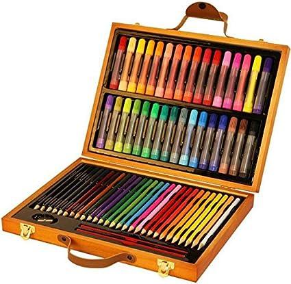 YChoice - Lápices de colores para colorear, 63 unidades, con estuche de madera, estuche para lápices, estuche para artistas/fanáticos de arte: Amazon.es: Oficina y papelería