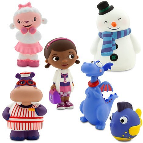 Disney Junior DOC MCSTUFFINS 6 Piece Bath Set Featuring Doc Mcstuffins, Stuffy, Lambie, Hallie, Chilly and Squeakers Bath Toys measuring 2 to 5 Inches Tall